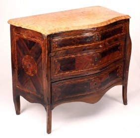 Italian 17th C. Marble Top Marquetry Inlaid Commode