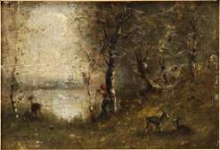French 19th C. Style of Corot, Barbizon School Oil on