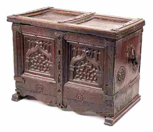Continental 15th C. Wrought Iron Clad Coffer Strong Box