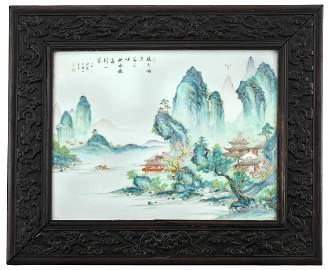 Chinese Framed Famille Rose Porcelain Plaque