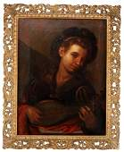 Anonymous Italian Old Master Oil on Canvas Boy Playing