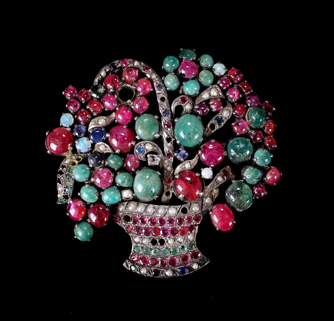 Jeweled Inset Floral Basket Brooch