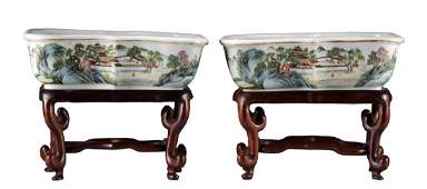 Pair of Chinese Hongxian Mark & Period Flower Pots