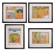 Four Indian 19th C. Gouache on Paper Paintings