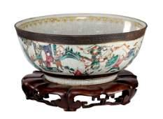 Large Chinese Qing Dynasty Enameled Porcelain Bowl