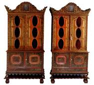 Pair of Indonesian 19th C. Kraton Solo Cabinets