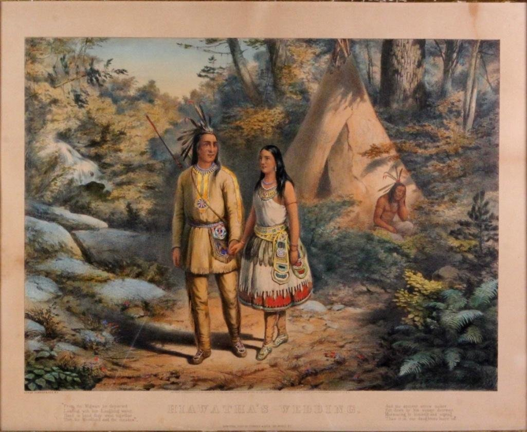 Currier & Ives Louis Framed Colored Lithograph 1858