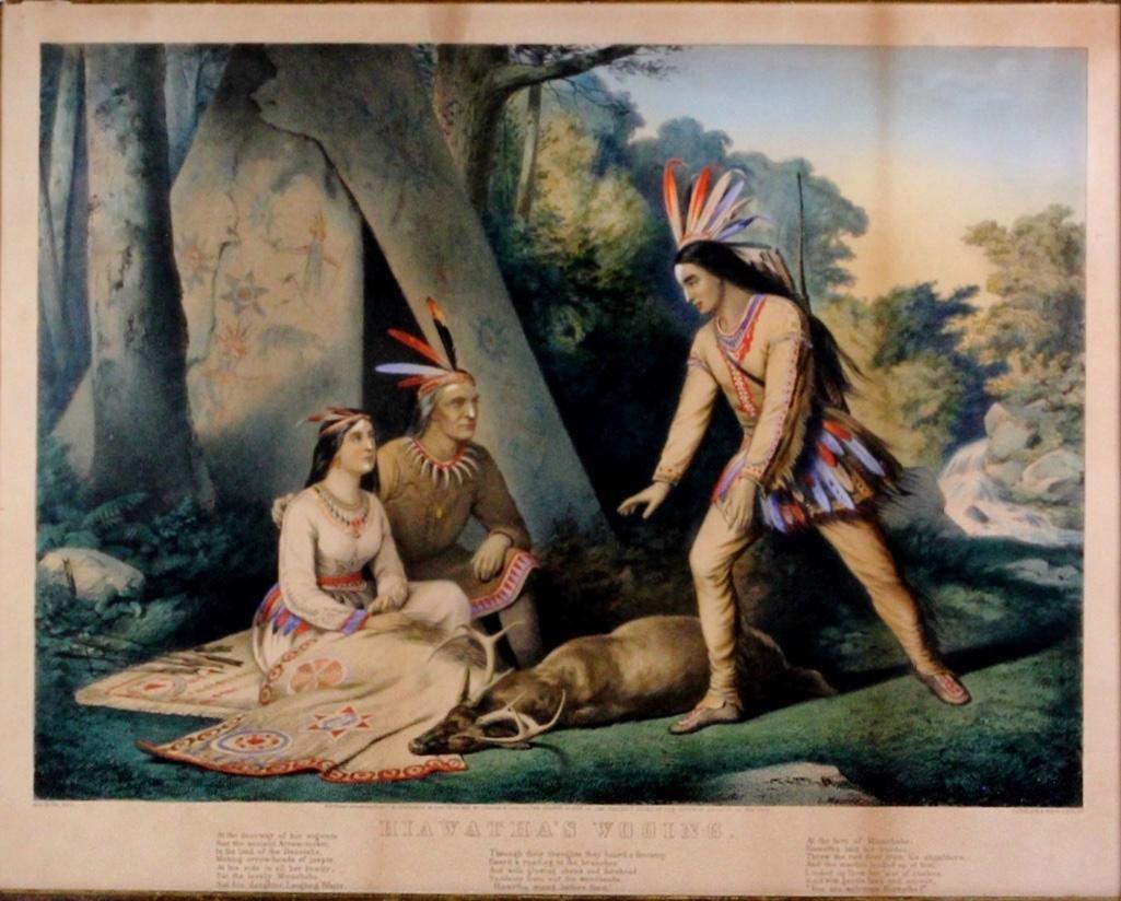 Currier & Ives Framed Lithograph 1860, Hiawatha's