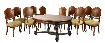 Austrian J. Muller Dining Room Table & Ten Chairs