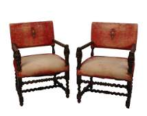 Pair of Continental Walnut Open Arm Chairs