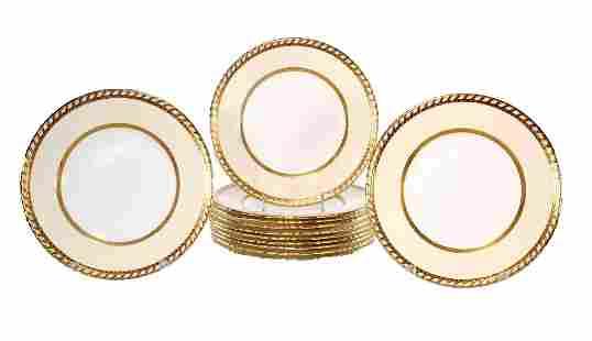 Twelve Minton Porcelain Dinner Plates