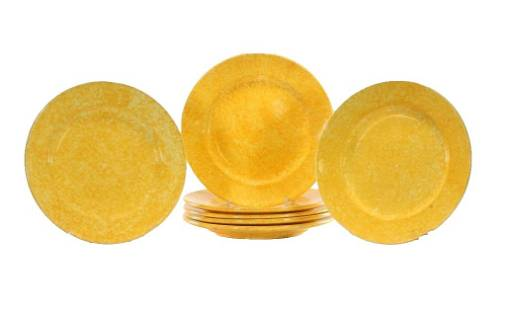 Set of 7 Tiffany & Co. Stangl Caughley Yellow Dinner