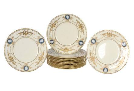 Set of 12 Minton's for Tiffany Pate-sur-Pate Cameo
