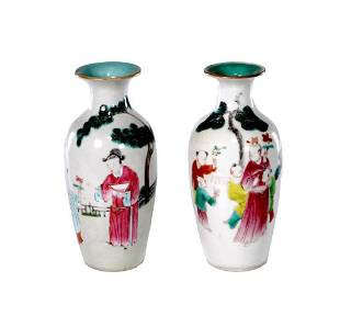 Pair of Chinese Qing Dynasty Famille Rose Vases