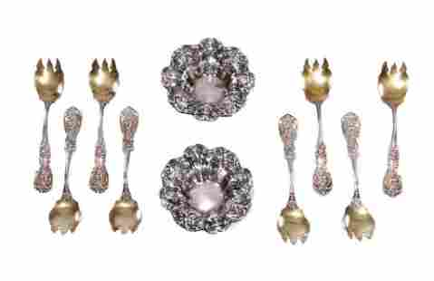 Eight Reed & Barton Francis I Forks and Two Nut Dishes