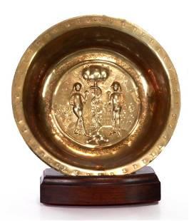 Nuremberg 16th C. Brass Alms Bowl