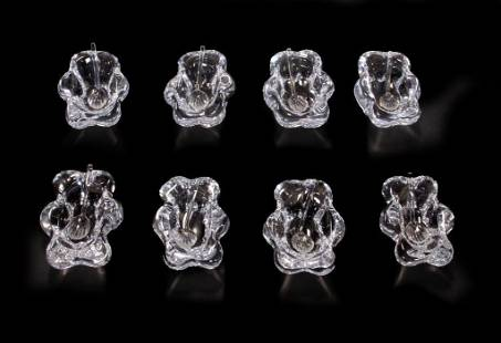 Eight Daum French Glass Salt Cellars and Spoons