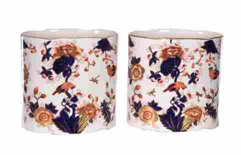 Pair of English Coalport Porcelain Ovoid Containers