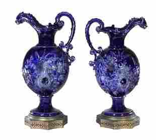 Pair of Continental 19th C. Cobalt Blue Glazed Ceramic