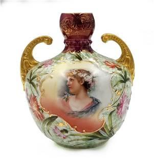 Royal Saxe Germany Painted Porcelain Portrait Vase
