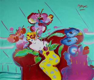 Flower Lady by Peter Max 60 x 72 Original Acrylic on
