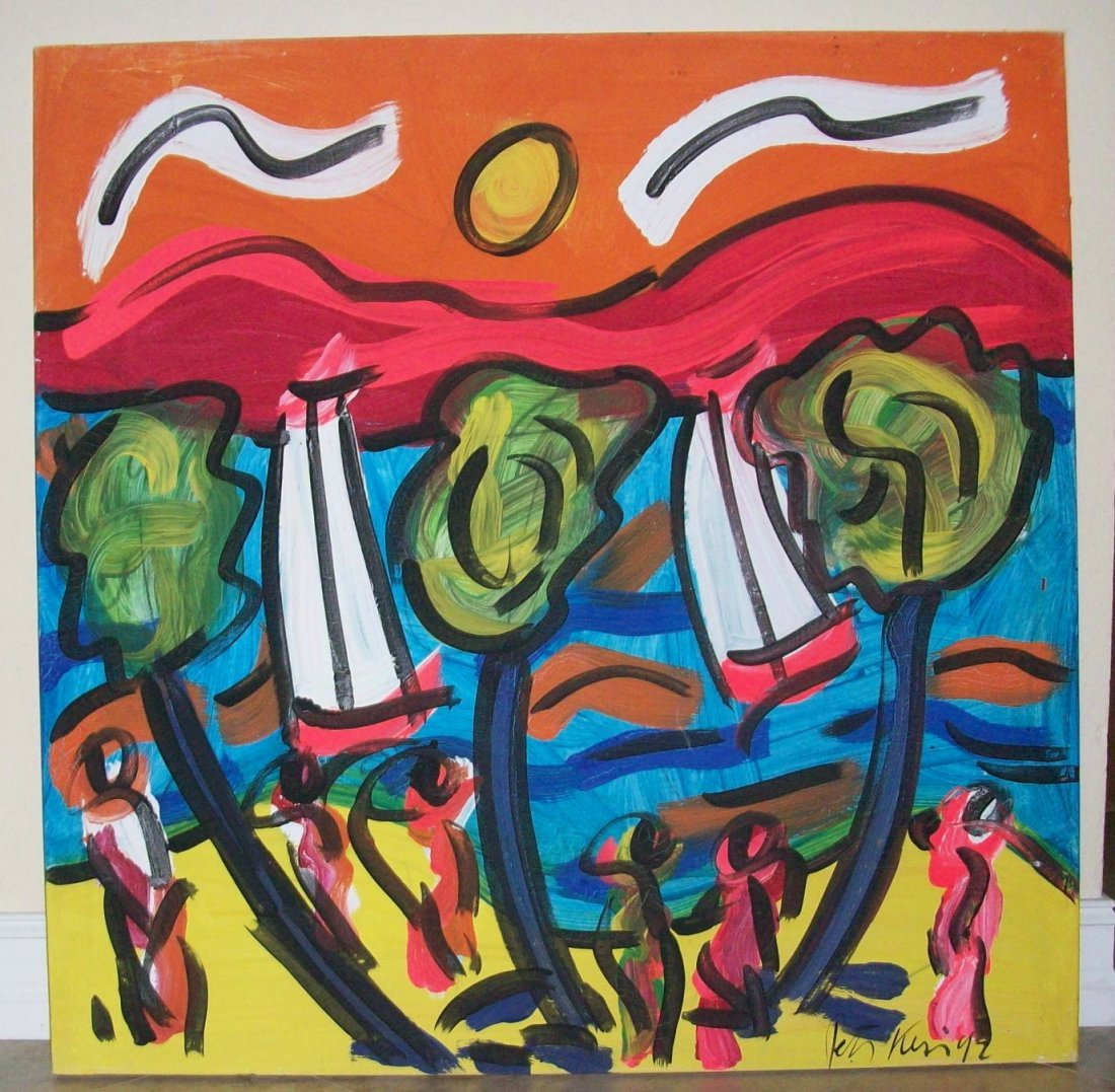 """""""ISLAND LIFE"""" by PETER KEIL - 40"""" X 40"""" - SIGNED"""