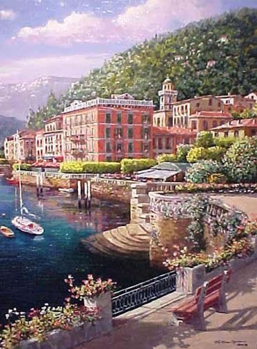 """""""Lakeside at Bellagio"""" by S. Sam Park.  SN Canvas"""
