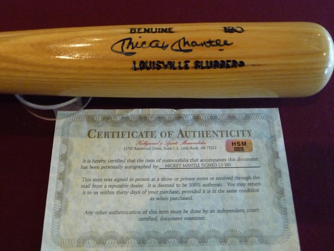 Mickey Mantle Autographed Bat with COA