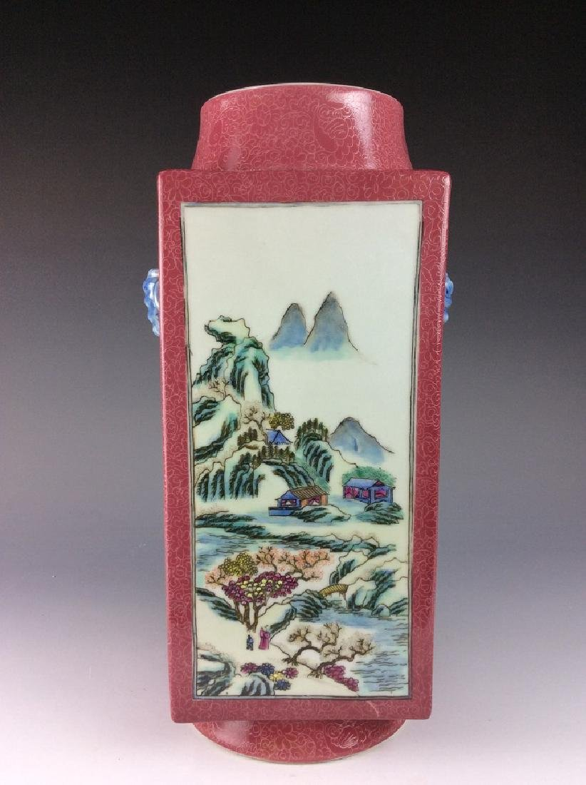 Vintage Chinese famile rose vase with panels, landscape