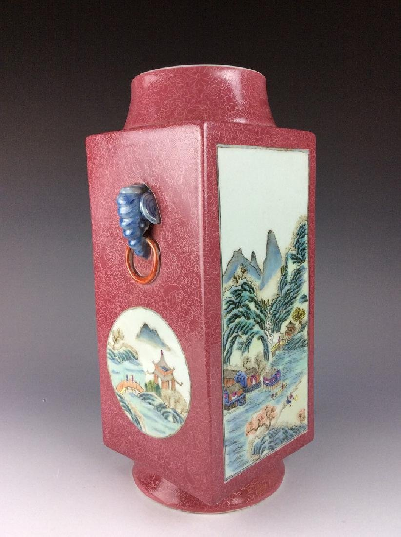 Vintage Chinese famile rose vase with panels, landscape - 2