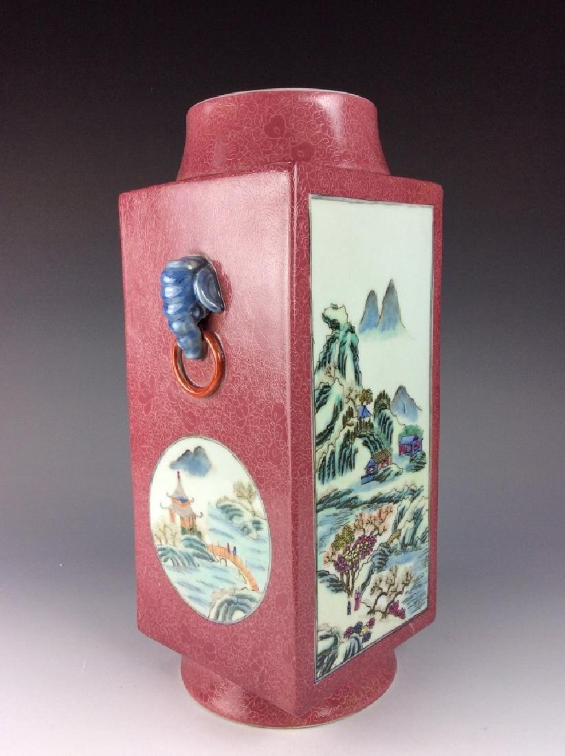 Vintage Chinese famile rose vase with panels, landscape - 3