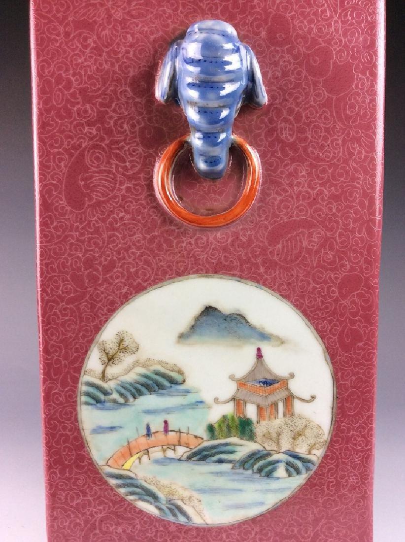 Vintage Chinese famile rose vase with panels, landscape - 4