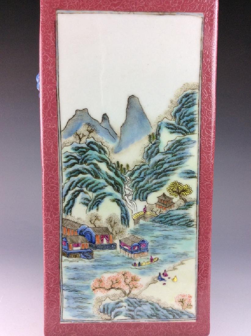 Vintage Chinese famile rose vase with panels, landscape - 5