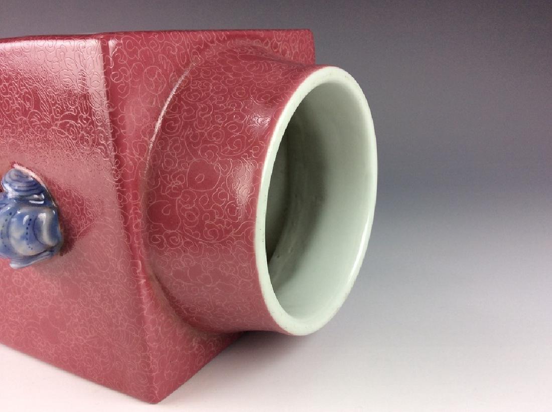 Vintage Chinese famile rose vase with panels, landscape - 6