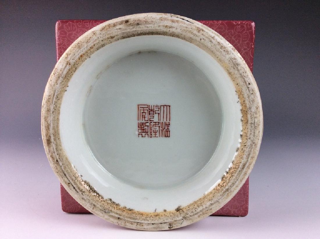 Vintage Chinese famile rose vase with panels, landscape - 7