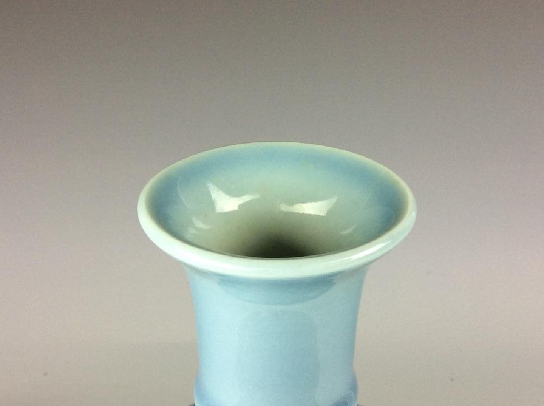 Chinese porcelain vase, blue galzed, decorate with - 3