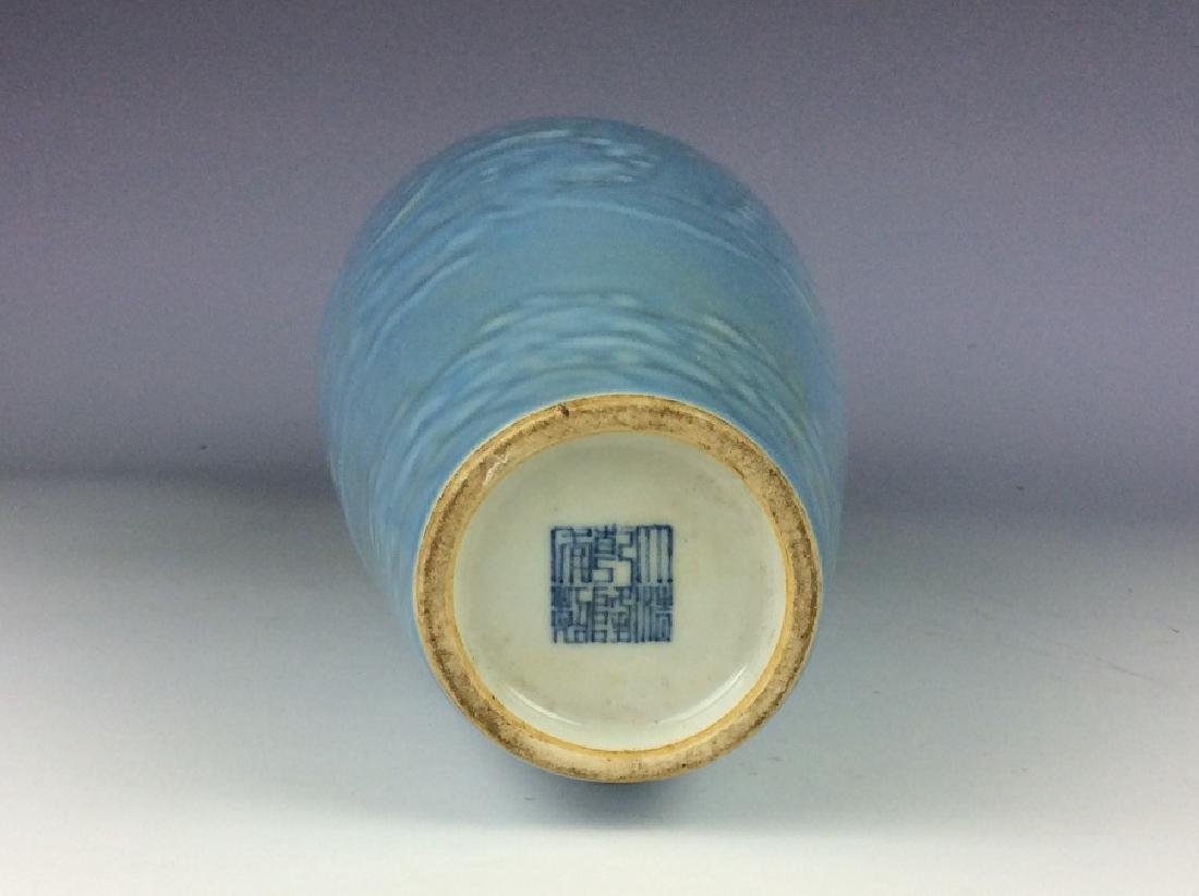 Chinese porcelain vase, blue galzed, decorate with - 4