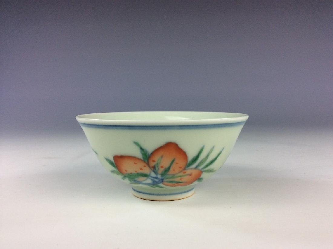 Fine Chinese porcelain cup, Doucai on white glazed, - 2
