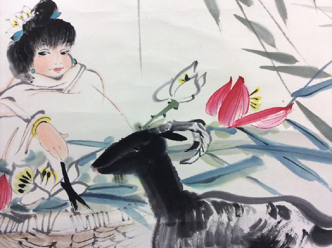 Chinese painting, hand painted scroll, ink and colors - 4