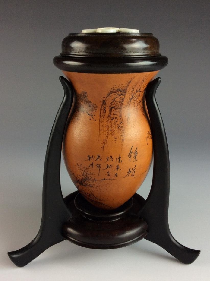 Rare Chinese Gourd Bottle Cricket Cage with Stand - 3