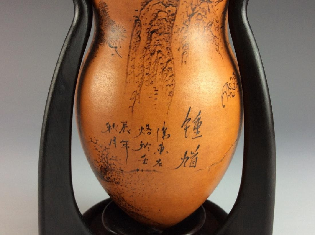 Rare Chinese Gourd Bottle Cricket Cage with Stand - 5