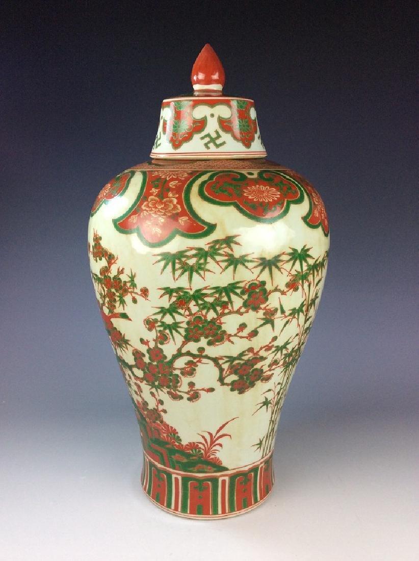 Rare Chinese Ming Wucai style porcelain vase, marked, - 3