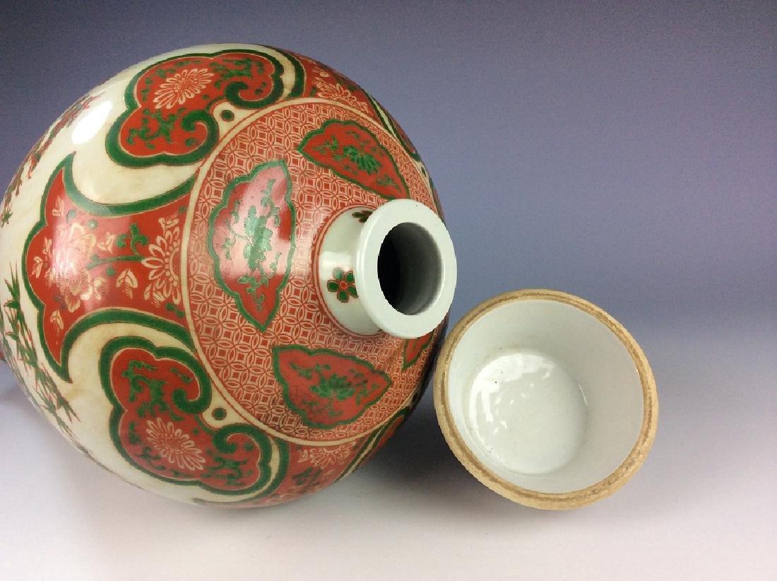 Rare Chinese Ming Wucai style porcelain vase, marked, - 6