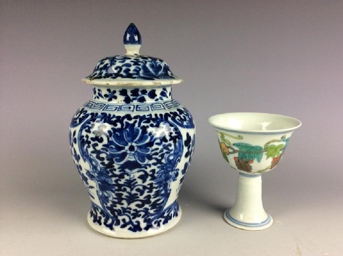 A set of Chinese porcelain, one blue & white vase and