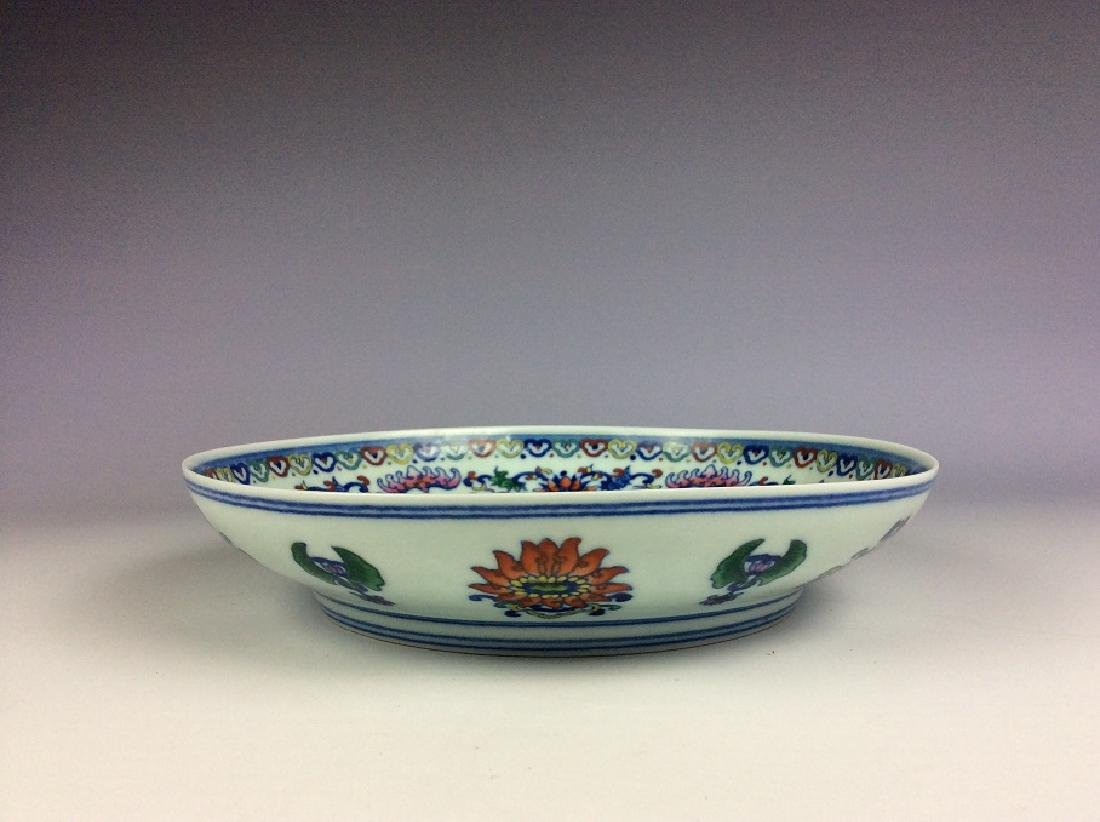 Chinese porcelain plate, Doucai glazed, decorated and - 3