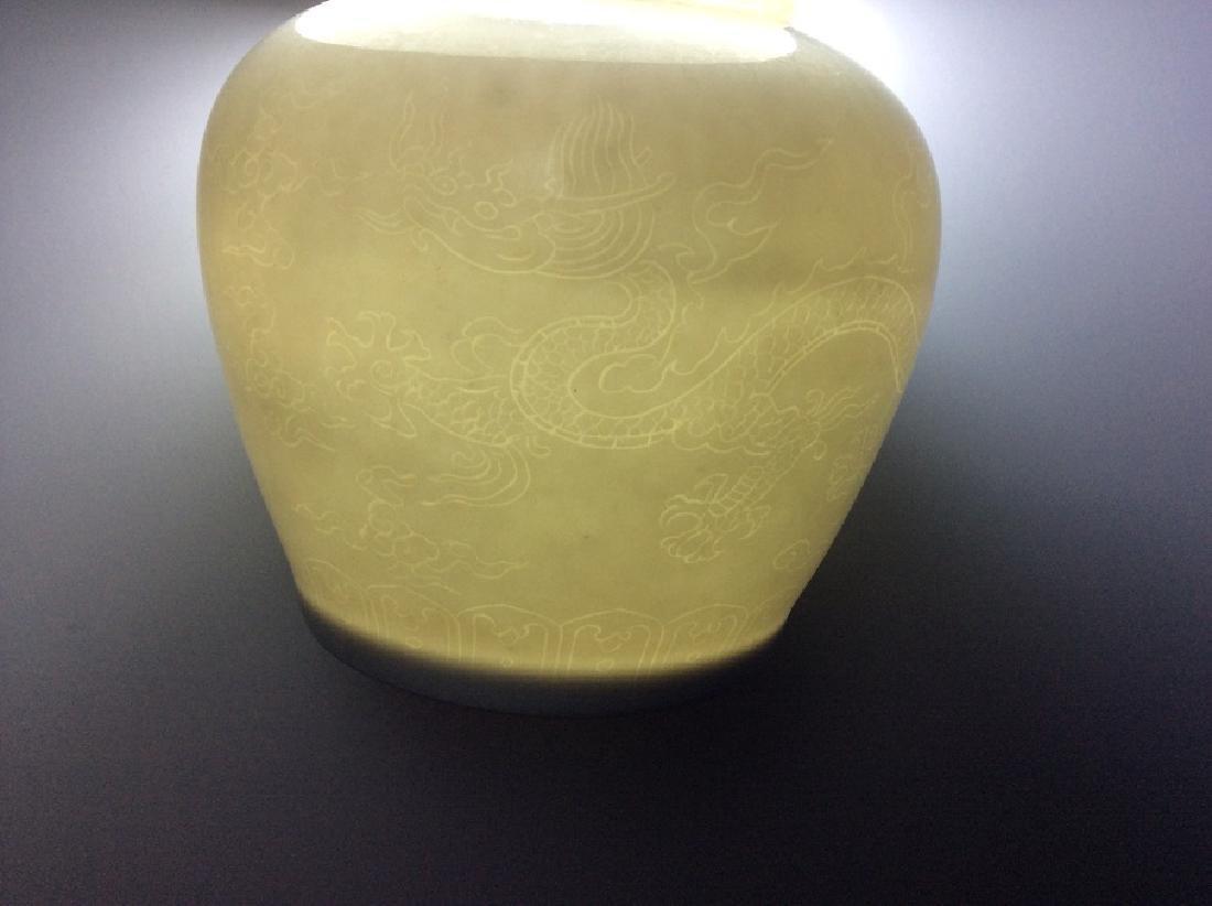 Egg thin Ming style Chinese porcelain Lidded Pot, white