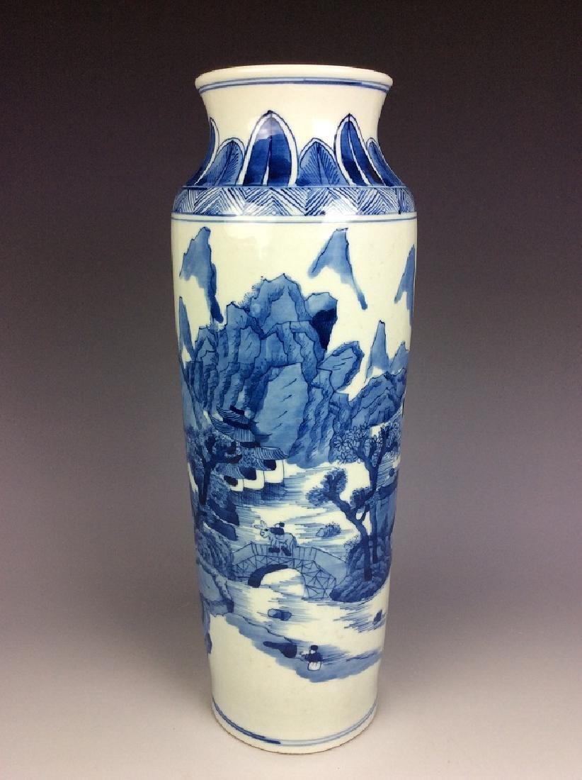 Kangxi style Fine Chinese Porcelain vase, blue & white
