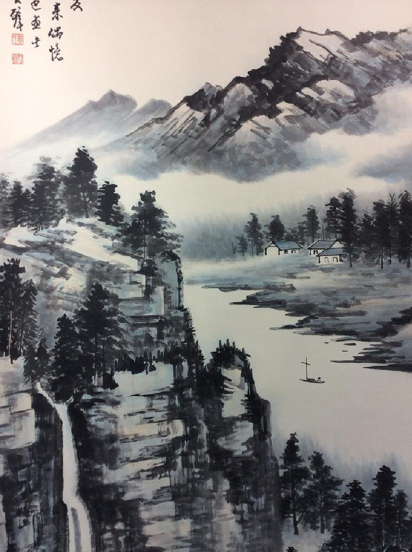 Chinese painting, hand painted scroll, - 4