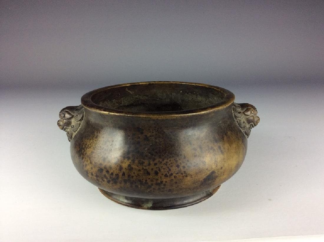 Chinese bronze censer with animalthe-head ears, marked - 3