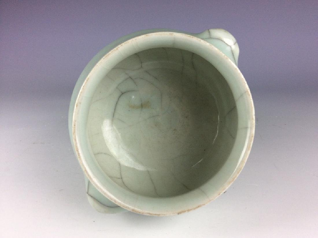 Chinese Guan style porcelain bowl, celadon glazed with - 3